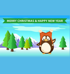 penguin in forest christmas and happy new year vector image