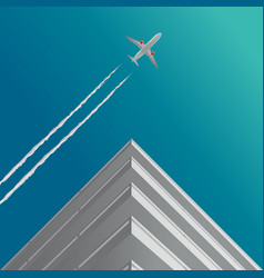 Plane in clouds house vector