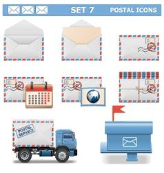 Postal Icons Set 7 vector