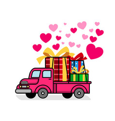 retro truck delivering lovely gift box vector image