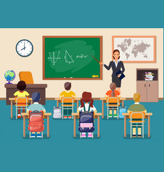 school children group and young teacher woman vector image