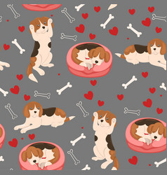 seamless pattern beagle dogs hearts and bones vector image
