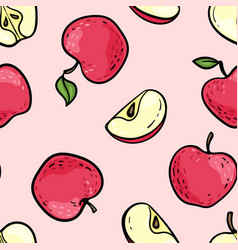 seamless pattern with cute doodle red and pink vector image