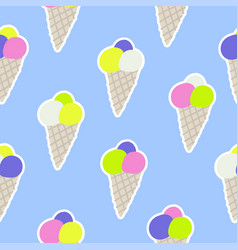 seamless pattern with ice cream in sketch style vector image