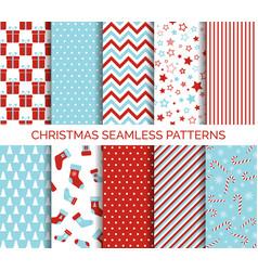 Set christmas seamless patterns vector