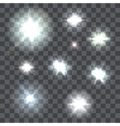 set lens flares beams and flashes on vector image