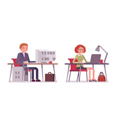 Set of male and female office workers sitting at vector