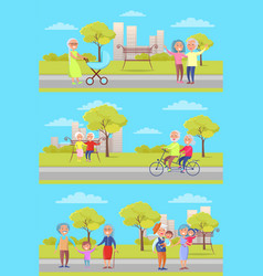 Set of posters with grandparents and kids vector