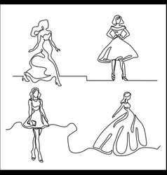 Set silhouette of a slender bride vector