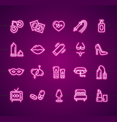 sex shop signs neon thin line icon set vector image