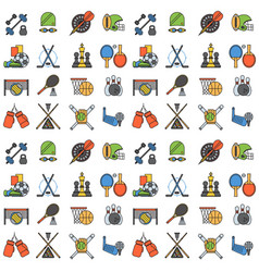 sport icons seamless pattern background in flat vector image