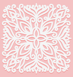 Square solid ornament white graphic element on a vector