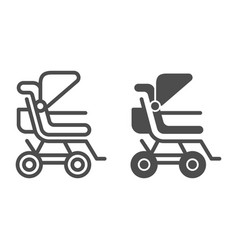 Stroller line and glyph icon bapushchair vector