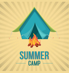 summer camp in forest banner vector image