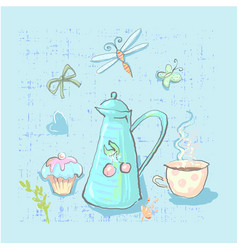 tea time cute childish elements set on vector image
