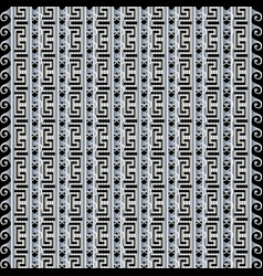 textured striped black and white 3d greek seamless vector image