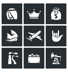 The wealth of Arab sheikhs icons set vector image