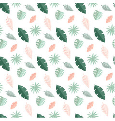 tropical palm leaves seamless pattern background vector image