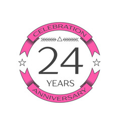 Twenty four years anniversary celebration logo vector