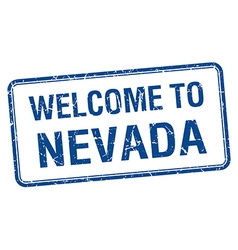 Welcome to Nevada blue grunge square stamp vector