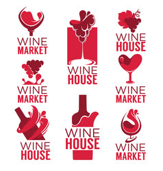 Wine house red wine bottles and glasses logo vector