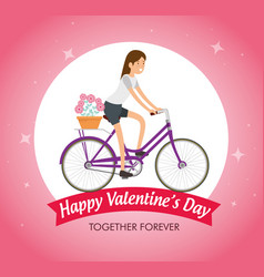Woman ride bicycle to celebrate valentine day vector
