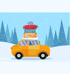 yellow car with suitcase on rowinter vector image