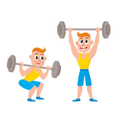 young man training with barbell - squatting doing vector image