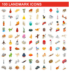 100 landmark icons set isometric 3d style vector image vector image