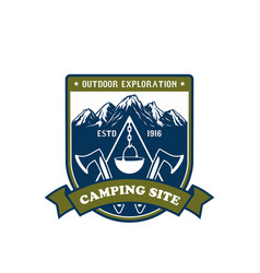 camping and outdoor adventure badge design vector image vector image