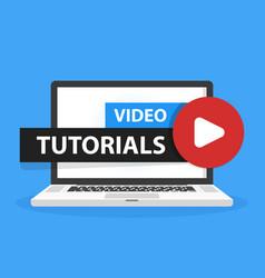 Online video tutorials education button in laptop vector