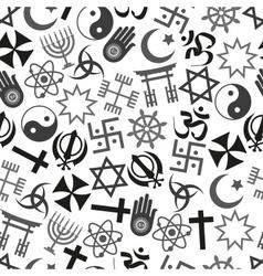 world religions symbols icons gray seamless vector image