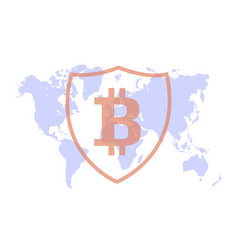 bitcoin protection on the background map vector image vector image