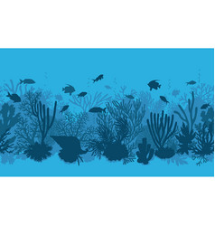 Blue coral reef and fishes pattern vector