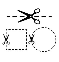 dotted lines with scissor icon set vector image vector image