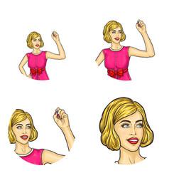 girl retro haircut drawing in air avatar vector image vector image