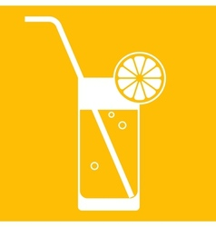 Glass of lemonade with drinking straw vector image vector image