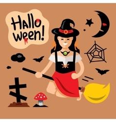 Halloween Witch on broomstick Cartoon vector image