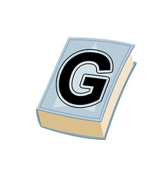 Letter G on cover of retro books Concept of vector image