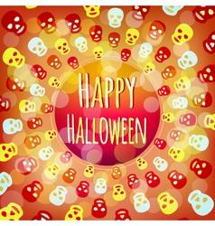 Orange Halloween background with colorful skulls vector image vector image