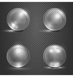 Shine 3D glass spheres magic balls crystal orbs vector image