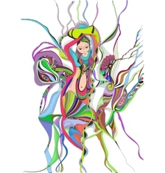 Surreal hand drawing girl dancing belly dance vector image vector image