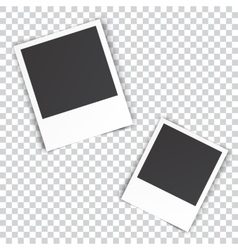 two blank photo pinned on white wall vector image