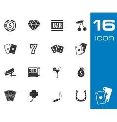 black casino icons set on white background vector image