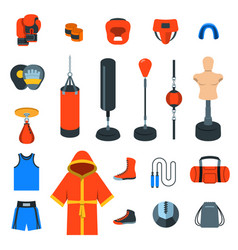 boxing icons flat colorful icons vector image vector image