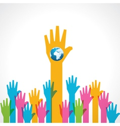 Colorful helping hand with earth icon vector image