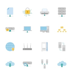 Computer Systems and Networks color flat icons set vector image