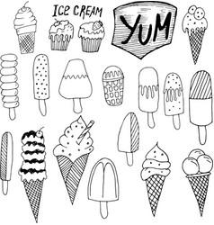 doodle ice cream vector image