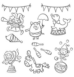 element object circus design doodle style vector image