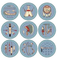 Nine native american labels vector